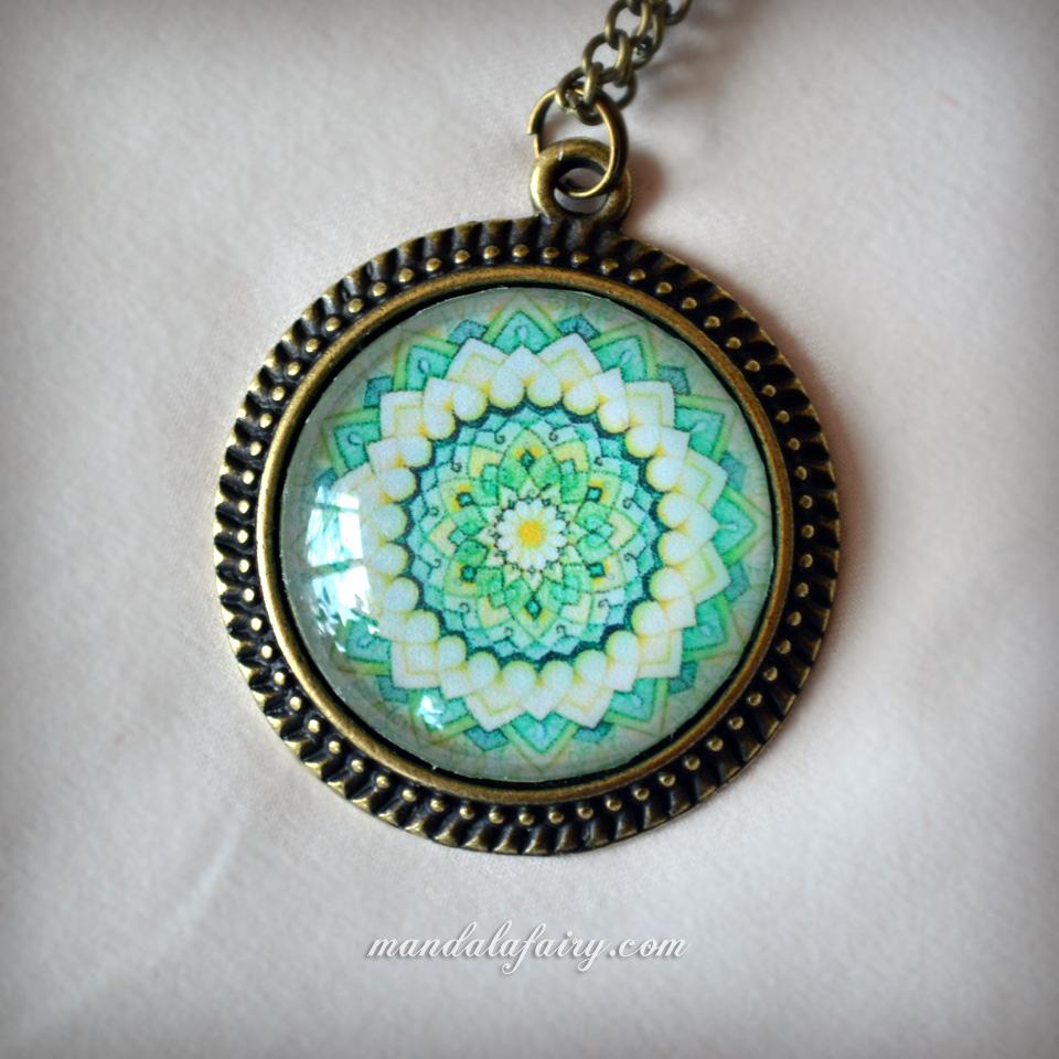 Emerald lotus mandala necklace