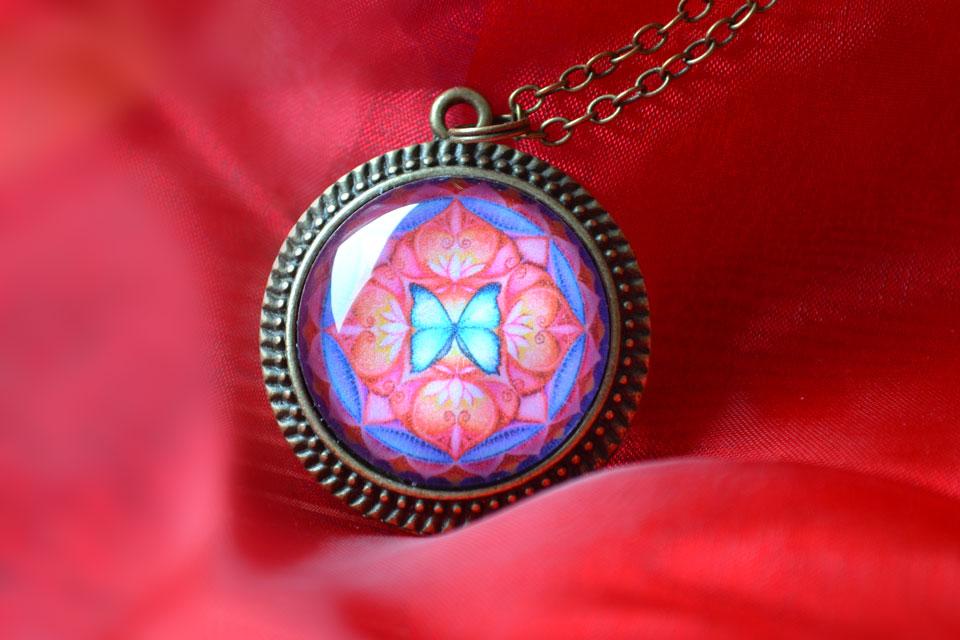 Butterfly Spirit mandala necklace