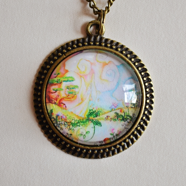 Fairy Garden mandala necklace