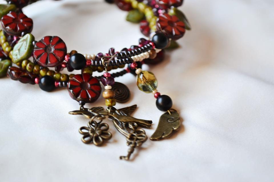"""Floral Dreams"" boho style Yoga bracelet"