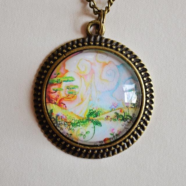 Fairy Garden mandala necklace